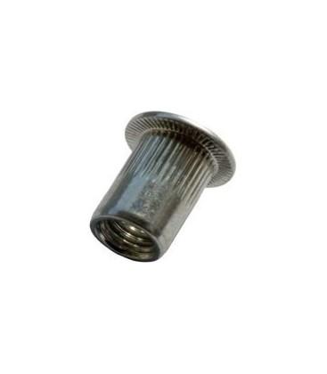 Заклепка M5*15 мм алюминиевая с внутренней резьбой, цилиндрический бортик, с насечкой